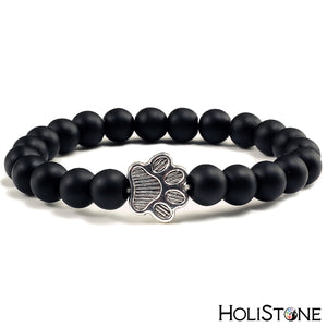 HoliStone Natural Lava Stone with Dog Paw Stretch Bracelet ? Anxiety Stress Diffuser Yoga Meditation Bead Lucky Charm Bracelet for Women and Men