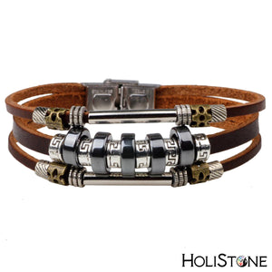 HoliStone Stainless Steel Beaded Leather Charm Bracelet for Women and Men ? Anxiety Stress Relief Yoga Meditation Energy Balancing Lucky Charm Bracelet for Women and Men