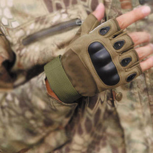 2TRIDENTS Tactical Hard Knuckle Half Finger Gloves - Green - Military Gloves - Army Combat Gloves with Rubber Hard Knuckles Airsoft (M)