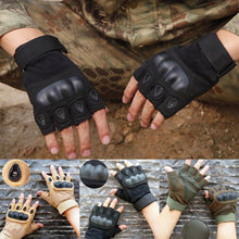 Load image into Gallery viewer, 2TRIDENTS Tactical Hard Knuckle Half Finger Gloves - Black - Military Gloves - Army Combat Gloves with Rubber Hard Knuckles Airsoft (L)