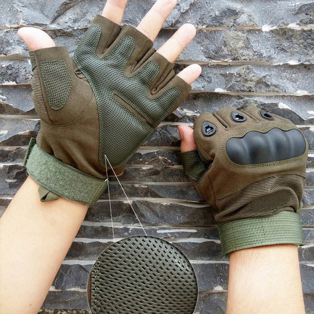 2TRIDENTS Tactical Hard Knuckle Half Finger Gloves - Black - Military Gloves - Army Combat Gloves with Rubber Hard Knuckles Airsoft (L)