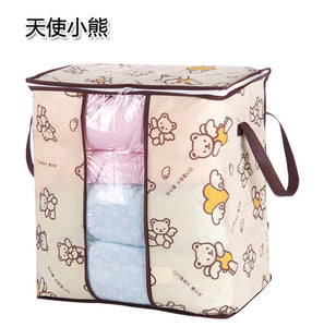 2TRIDENTS 2 Pcs Non-Woven Clothes Storage Bag Organizer Blanket Pillow Bedding Container Bag (Angel Bear)