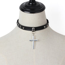 Load image into Gallery viewer, GUNGNEER Christian Cross Choker Leather Jesus Jewelry Accessory Gift Outfit For Women