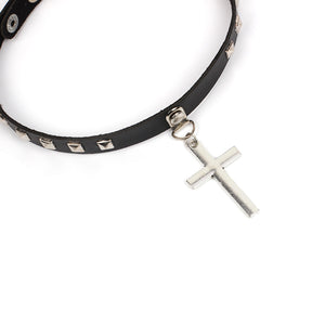 GUNGNEER Christian Cross Choker Leather Jesus Jewelry Accessory Gift Outfit For Women