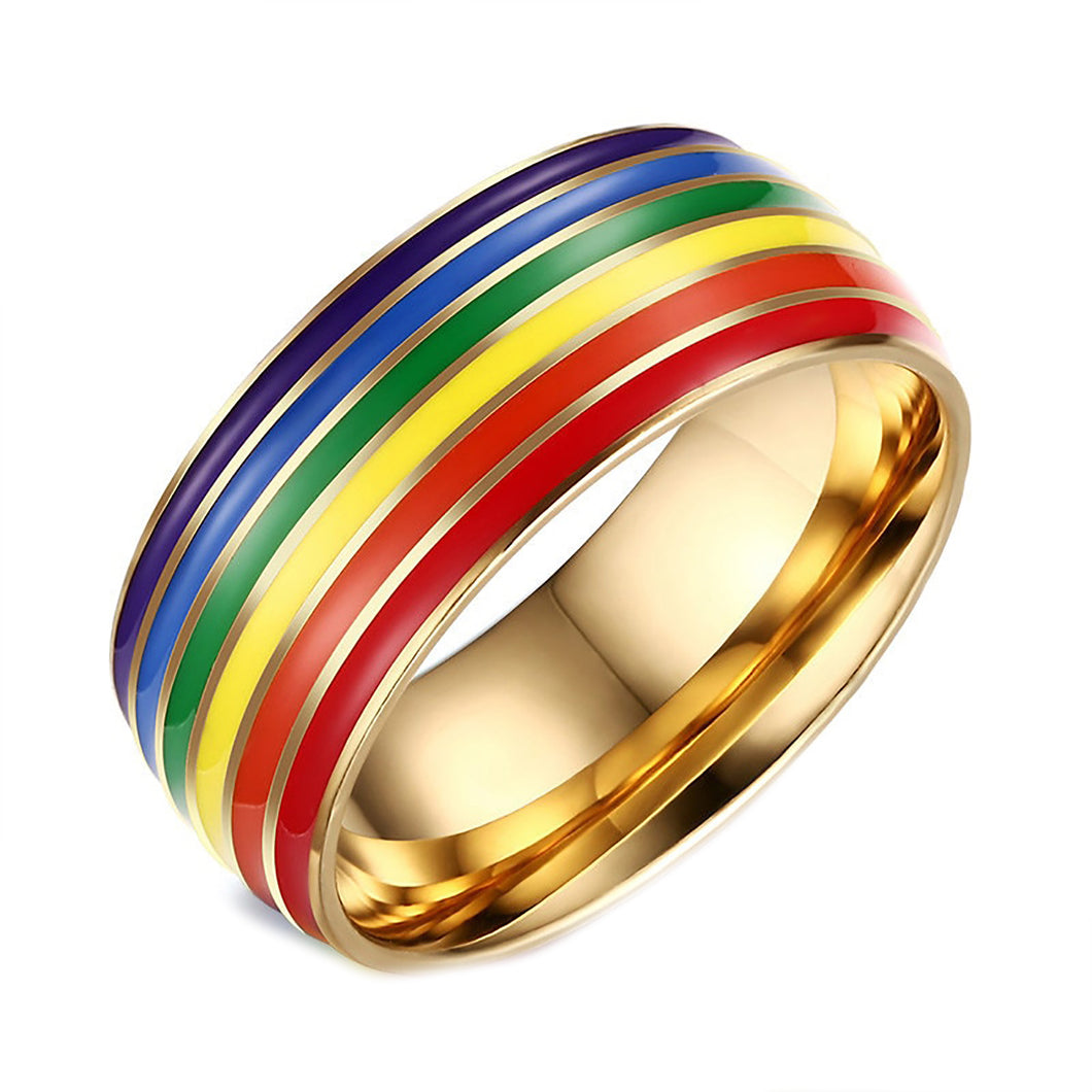 GUNGNEER Stainless Steel Gay Lesbian Pride Ring LGBT Jewelry Accessory For Men Women