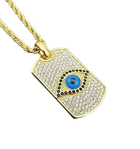 GUNGNEER Egyptian Eye of Horus Stainless Steel Pendant Necklace Triangle Ring Jewelry Set