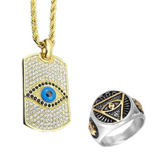 Load image into Gallery viewer, GUNGNEER Egyptian Eye of Horus Stainless Steel Pendant Necklace Triangle Ring Jewelry Set