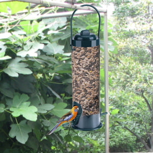 2TRIDENTS Hard Plastic Outdoor Birdfeeder with Hanger - Hanging Feeders for Finches Bird Seed and More