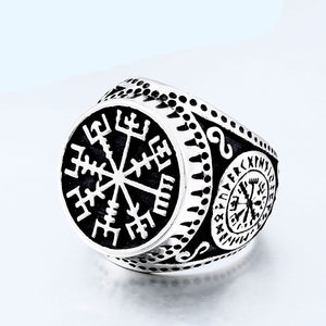 ENXICO Vegvisir The Viking Runic Compass Ring ? 316L Stainless Steel ? Norse Scandinavian Viking Jewelry