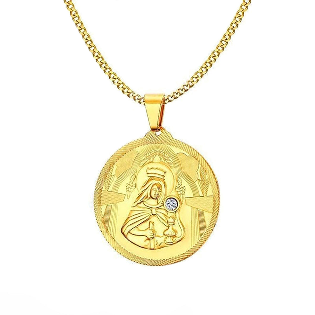 GUNGNEER Stainless Steel Mary Mother of Jesus Round Medallion Pendant Necklace Jewelry