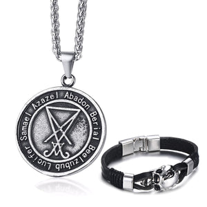 GUNGNEER Luciferian Sigil Of Lucifer Necklace Leather Skull Bracelet Jewelry Set Gift