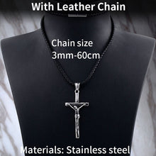 Load image into Gallery viewer, GUNGNEER God Stainless Steel Christ Cross Pendant Necklace Jesus Gift Jewelry For Men