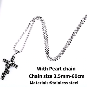 GUNGNEER Stainless Steel Cross Pendant Necklace Christ Jewelry Accessory Gift For Men Women