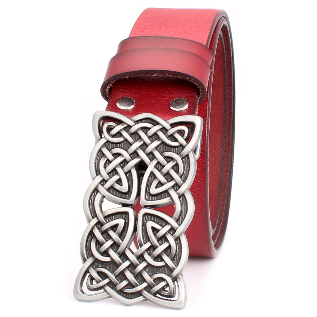 GUNGNEER Interlocking Irish Celtic Knot Stripe Square Leather Bucket Belt Jewelry Accessories