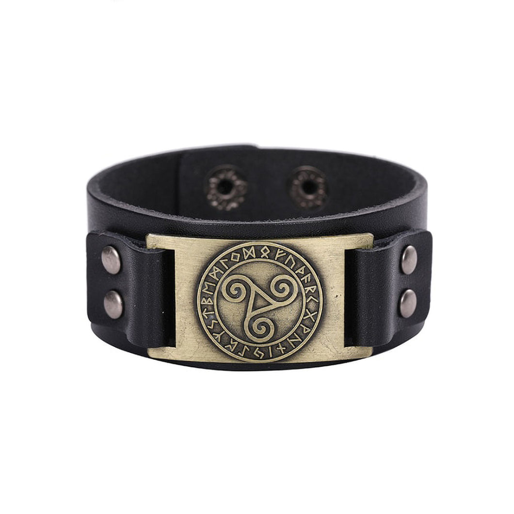 GUNGNEER Vintage Celtic Knot Triskele Leather Bracelet Bangle Jewelry Accessories Men Women