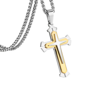 GUNGNEER Stainless Steel Multilayers Cross Necklace Christian Pendant Jewelry For Men Women