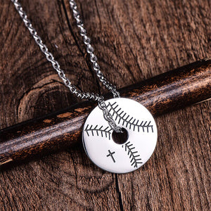 GUNGNEER Baseball Stitched Ball Necklace Stainless Steel Sports Jewelry For Men Women