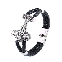 Load image into Gallery viewer, GUNGNEER Stainless Steel Viking Norse Thor Hammer Vegvisir Bracelet Bangle Ring Jewelry Set