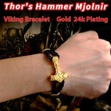 Load image into Gallery viewer, GUNGNEER 2 Pcs Nordic Viking Thor's Hammer Mjolnir Scandinavian Bangle Bracelet Jewelry Set