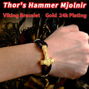 GUNGNEER 2 Pcs Nordic Viking Thor's Hammer Mjolnir Scandinavian Bangle Bracelet Jewelry Set