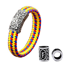 Load image into Gallery viewer, GUNGNEER 3 Pcs Nordic Valknut Amulet Bracelet Bangle Runes Beads Stainless Steel Jewelry Set