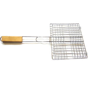 2TRIDENTS Non Stick BBQ Grill Basket Net with Wooden Handle Ideal Cooking Utensil for Outdoor Indoor