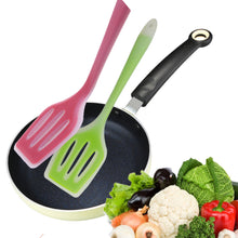 Load image into Gallery viewer, 2TRIDENTS Non Stick Silicone Spatula Turner Ideal for Flipping Eggs Crepes - Pro Flipper Turner for Cooking (Green)