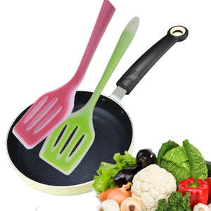 2TRIDENTS Non Stick Silicone Spatula Turner Ideal for Flipping Eggs Crepes - Pro Flipper Turner for Cooking (Green)