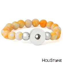 Load image into Gallery viewer, HoliStone Stone Beaded Bracelet with Snap Button ? Anxiety Stress Relief Yoga Meditation Energy Balancing Lucky Charm Bracelet for Women and Men