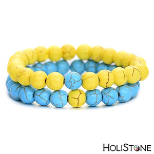 HoliStone Turquoise Stone Beads Double Layer Bracelet ? Anxiety Stress Relief Yoga Beads Bracelets Chakra Healing Crystal Bracelet for Women and Men
