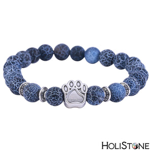HoliStone Natural Chakra Stone with Silver Dog Paw Bracelet for Balancing Energy ? Anxiety Stress Relief Yoga Meditation Energy Balancing Lucky Charm Bracelet for Women and Men