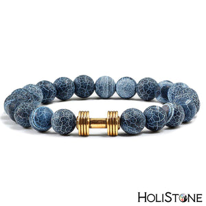 HoliStone Natural Stone & Mini Dumbbell Stretch Bracelet for Women and Men ? Anxiety Stress Relief Yoga Meditation Energy Balancing Lucky Charm Bracelet for Women and Men