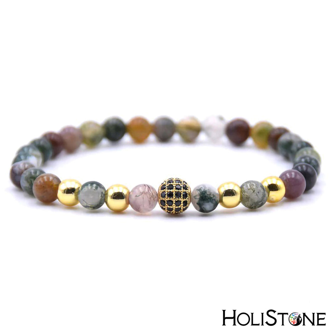 HoliStone 6mm Natural Stone and Zirconia Bead with Cross Bracelet for Women and Men ? Yoga Meditation Healing Balancing Energy Bracelet