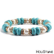 Load image into Gallery viewer, HoliStone Trendy Turquoises Gold Silver Rhinestone Stretch Bracelet ? Yoga Fitness Meditation Lucky Charm Gift for Women and Men