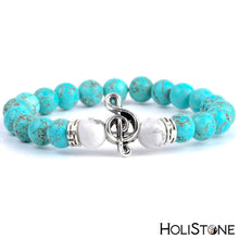 Load image into Gallery viewer, HoliStone Natural Blue Turquoises Stone Beaded Charm Bracelet with Musical Note for Women ? Yoga Meditation Healing Balancing Energy Bracelet