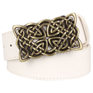 GUNGNEER Celtic Irish Knot Leather Bucket Belt Accessories for Men Women