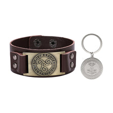 Load image into Gallery viewer, GUNGNEER Vintage Celtic Knot Triskele Leather Bracelet with Thor Hammer Key Chain Jewelry Set