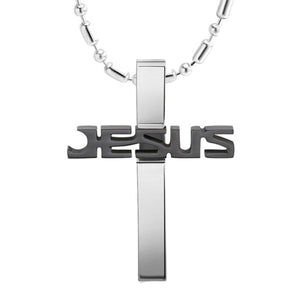 GUNGNEER Stainless Steel Cross Necklace Christian Pendant Jewelry Accessory For Men Women