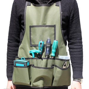 2TRIDENTS Multi-Pocket Oxford Canvas Gardening Apron for Repairs, Painting, Crafts, Grilling, Woodworking, and More (Army Green)