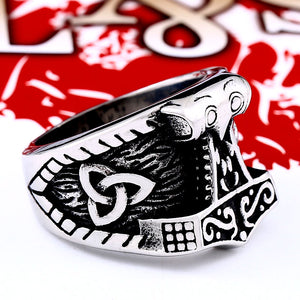 ENXICO Mjolnir The Thor's Hammer Ring ? 316L Stainless Steel ? Norse Scandinavian Viking Jewelry (10)