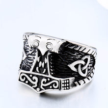 Load image into Gallery viewer, ENXICO Mjolnir The Thor's Hammer Ring ? 316L Stainless Steel ? Norse Scandinavian Viking Jewelry (10)