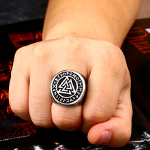 Load image into Gallery viewer, ENXICO Tripple Valknut Ring with Rune Circle Symbol ? 316L Stainless Steel ? Norse Scandinavian Viking Jewelry