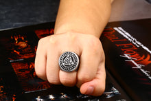 Load image into Gallery viewer, ENXICO Tripple Valknut Ring with Rune Circle Symbol ? 316L Stainless Steel ? Norse Scandinavian Viking Jewelry (10)