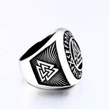 Load image into Gallery viewer, ENXICO Vegvisir The Viking Runic Compass Ring with Rune Circle and Double Valknut Symbol ? 316L Stainless Steel ? Norse Scandinavian Viking Jewelry