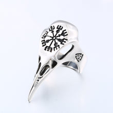 Load image into Gallery viewer, ENXICO Ravens Skull Ring with Aegishjalmur The Helm of Awe Symbol ? 316L Stainless Steel ? Norse Scandinavian Viking Jewelry (10)