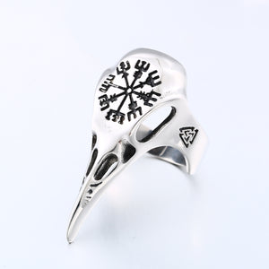 ENXICO Ravens Skull Ring with Aegishjalmur The Helm of Awe Symbol ? 316L Stainless Steel ? Norse Scandinavian Viking Jewelry (10)
