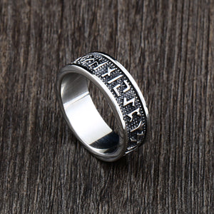 ENXICO Rune Circle Ring ? 316L Stainless Steel ? Norse Scandinavian Viking Jewelry