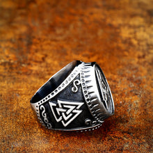 Load image into Gallery viewer, ENXICO Odin's Symbol The Valknut Ring ? 316L Stainless Steel ? Norse Scandinavian Viking Jewelry (10)