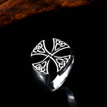 Load image into Gallery viewer, ENXICO Templar Cross Ring with Celtic Knots Pattern ? 316L Stainless Steel ? Christian Pattée Cross Jewelry