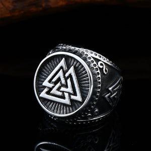 ENXICO Odin's Symbol The Valknut Ring ? 316L Stainless Steel ? Norse Scandinavian Viking Jewelry